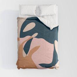 Minimal Monstera Leaves Duo Comforters