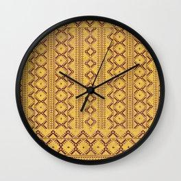 kilim geo in sunny yellow Wall Clock