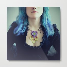 Violet Heart and Green Leaves Metal Print