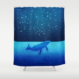 Whale Spouting Stars - Magical & Surreal Shower Curtain
