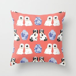 Staffordshire Dogs + Ginger Jars No. 3 Throw Pillow