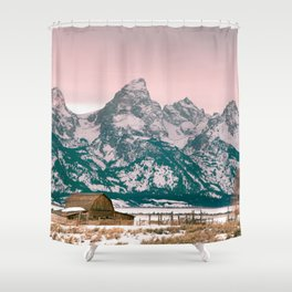 Grand Tetons Barn Shower Curtain