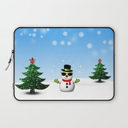 Cool Snowman and Sparkly Christmas Trees Laptop Sleeve