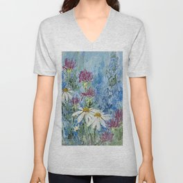 Wildflower Blues Garden Flower Acrylic Art Unisex V-Neck