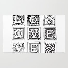Love - Doodled cards with letters Rug