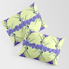 PURPLE WHITE IRIS & PANSIES GARDEN Pillow Sham