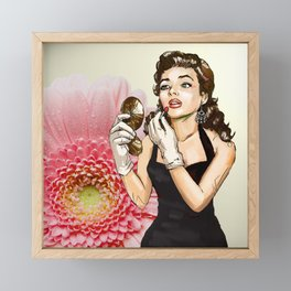 Retro Pinup Girl Compact Lipstick & Pink Flower Framed Mini Art Print