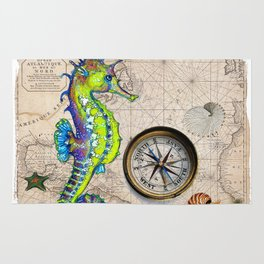 Seahorse Lime Map Rug