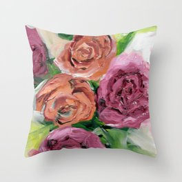 Peachy Keen Spring Floral Bouquet Throw Pillow