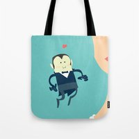 vampire diaries Tote Bags featuring The vampire love by thinkgabriel