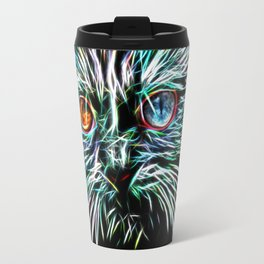 Odd-Eyed White Glowing Cat Travel Mug
