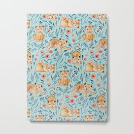 Cute Cubs with Coral Poppies on Light Blue Linen Metal Print