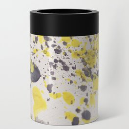 Yellow Grey Classic Abstract Art Can Cooler
