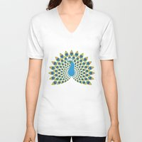 peacock V-neck T-shirts featuring Peacock by tuditees