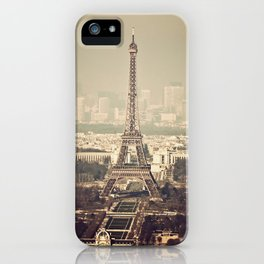 paris skyline aerial view with eiffel tower iPhone Case