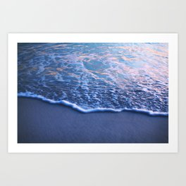 California Beach Waves in the Sunset Art Print