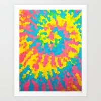 tie dye Art Prints featuring Tie Dye by Jillian Stanton