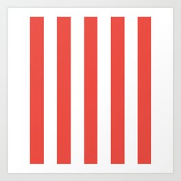 Carmine pink - solid color - white vertical lines pattern Art Print