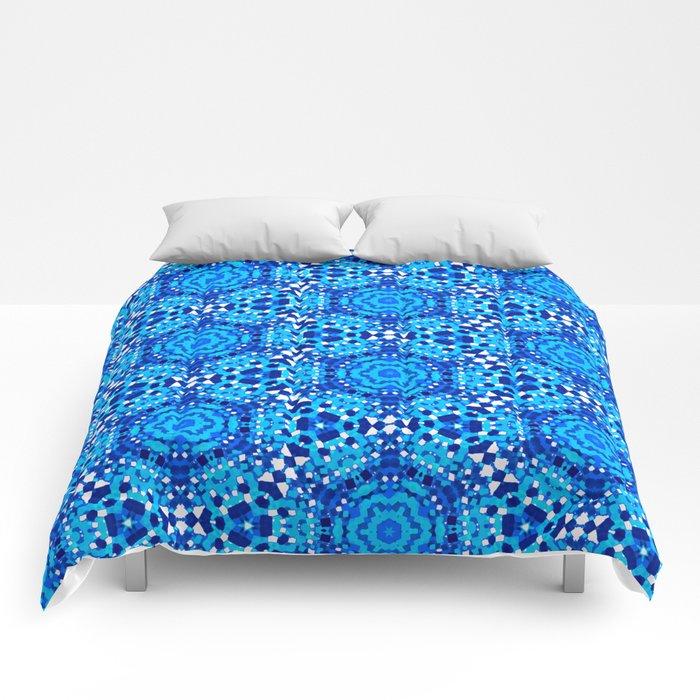 Santorini Blues Kaleidoscope Pattern Comforters