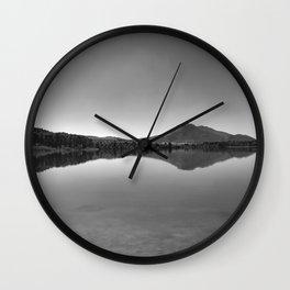 Sunrise at the lake. Square. BW Wall Clock