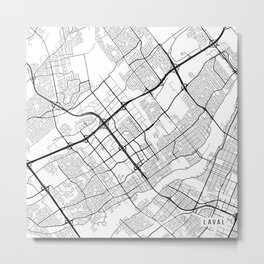 Laval Map, Canada - Black and White Metal Print