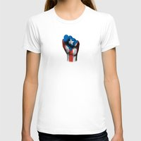 puerto rico T-shirts featuring Puerto Rican Flag on a Raised Clenched Fist by Jeff Bartels