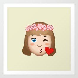 Flower Girl's Kiss Art Print