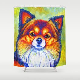 Colorful Long Haired Chihuahua Dog Shower Curtain