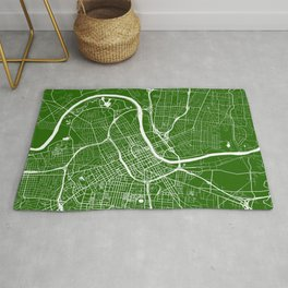 Green City Map of Nashville, Tennessee Rug