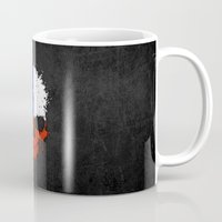 chile Mugs featuring Flag of Chile on a Chaotic Splatter Skull by Jeff Bartels