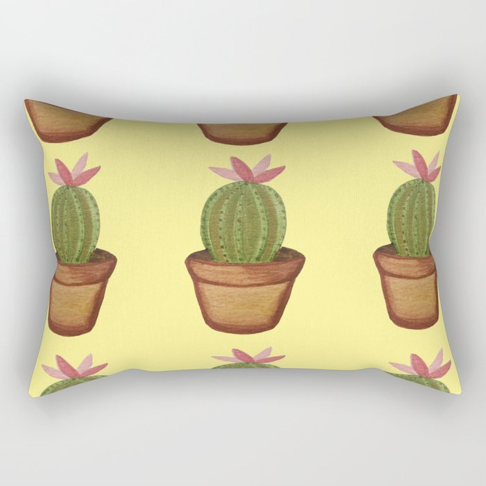 Bright Watercolor  Succulent Pattern || Yellow Rectangular Pillow