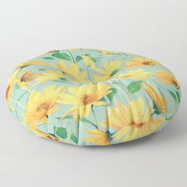 Painted Golden Yellow Daisies on soft sage green Floor Pillow