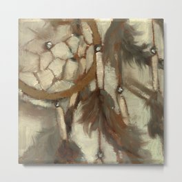 Native American Dreamcatcher Spirituality Still Life Impressionist Painting in Gray and Tan Metal Print