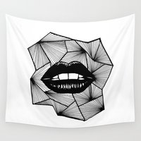 lips Wall Tapestries featuring Lips by Aurelie