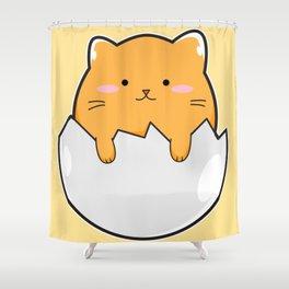 Yellow Cat Egg Shower Curtain