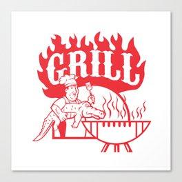 BBQ Chef Carry Gator Grill Retro Canvas Print