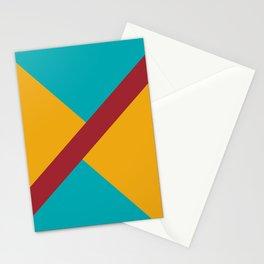 Red Aqua Orange Diagonal Stripe Offset Pattern Rustoleum 2021 Color of the Year Satin Paprika Stationery Cards
