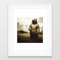 Bear in mountain landscape Framed Art Print