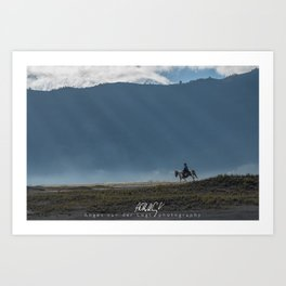 The lonely horse rider at Bromo, East Java, Indonesia Art Print