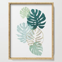 Tropical minimal / green, turquoise and gold monstera Serving Tray