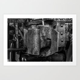 Railway Coupler Close Up Rusty Black and White Railroad Art Print
