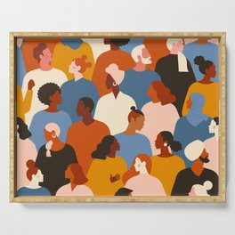Diverse group of stylish people standing together. Serving Tray