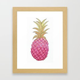 Ombre Pink Illustrated Pineapple Framed Art Print