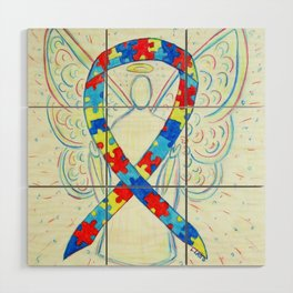 Autism Puzzle Piece Awareness Ribbon Angel Art Painting Wood Wall Art