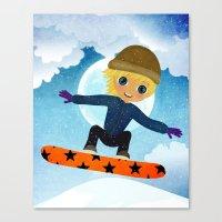 snowboarding Canvas Prints featuring SNOWBOARDING by Cherimoya Art