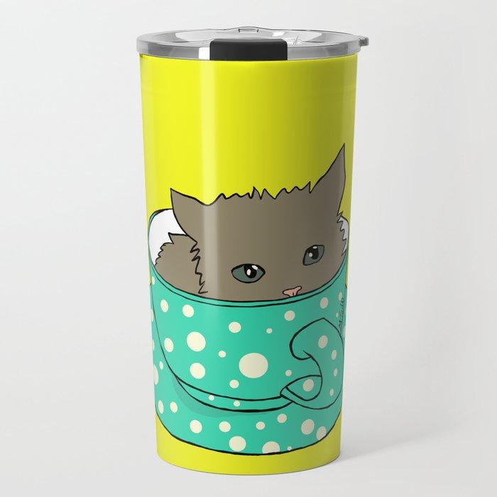 Kitten In A Teacup Travel Mug