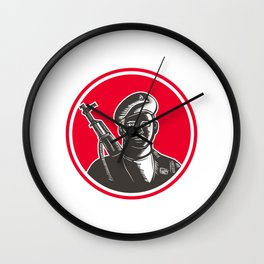 Paramilitary Wearing Beret Rifle Woodcut Wall Clock
