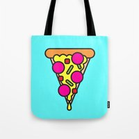boyfriend Tote Bags featuring pizza is my boyfriend by molly ennis