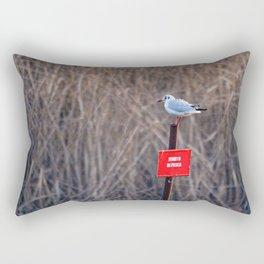 """A seagull resting on a """"fishing ban"""" signboard in a swamp in Italy Rectangular Pillow"""