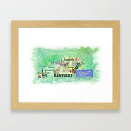 Kentucky USA State Illustrated Travel Poster Favorite Tourist Map Framed Art Print